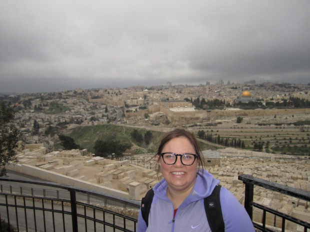 Standing on the Mt of Olives with Jerusalem behind me!
