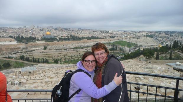 Mom and Me hanging out on the Mount of Olives overlooking the Temple Mount in Jerusalem.